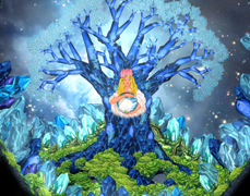 The world tree in the cave of creation