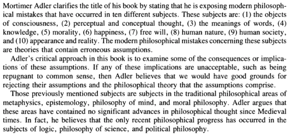 "Adler's ""Ten Philosophical Mistakes"""