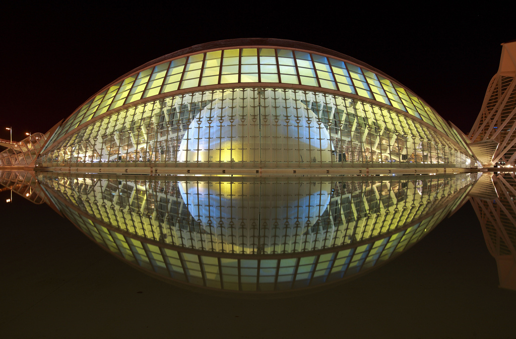 Frontal view of The Hemispheric, City of Arts and Sciences, Valencia, Spain