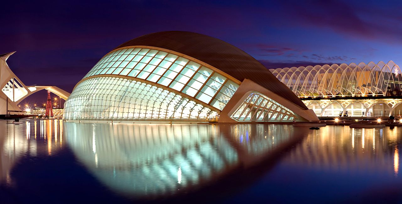 The Hemispheric during twilight in Valencia, Spain.