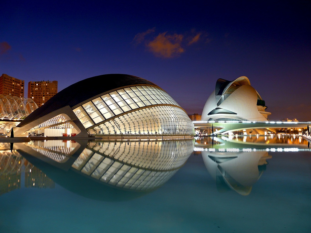 The Museum of Sciences and Art, and the Aquarium. Valencia, Spain.
