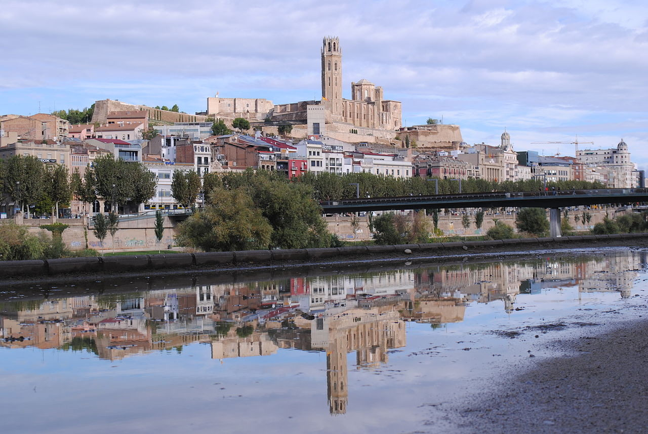 Panoramic view of La Seu Vella (Old Cathedral of Our Lady) of Lleida, a city in the west of Catalonia, Spain.