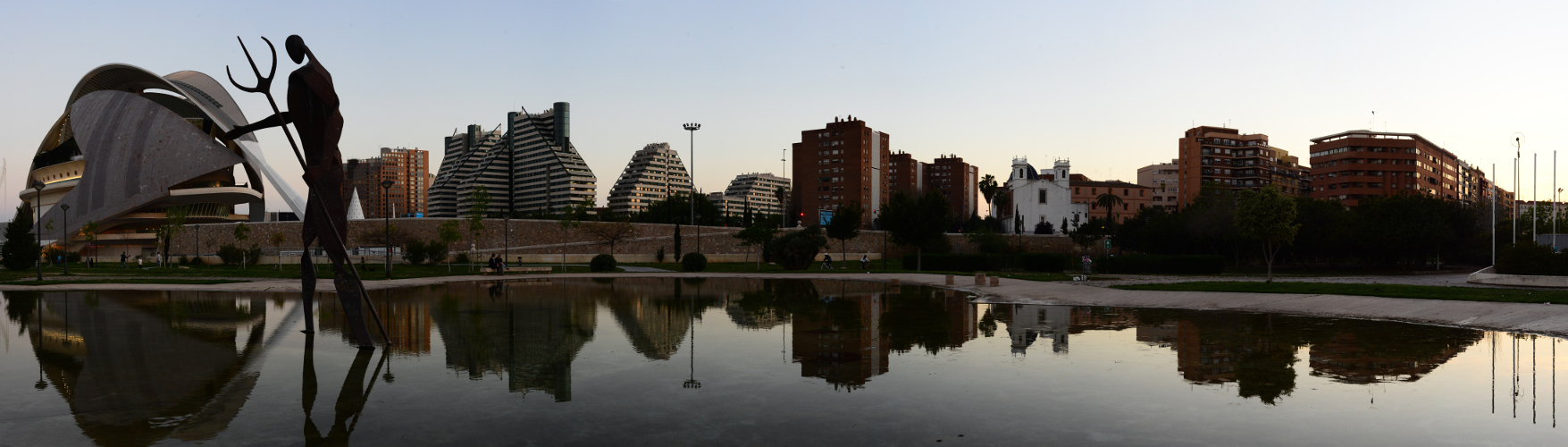 Neptune statue by Marta S. Gufstasson, panoramic of Valencia. Spain, Southwestern Europe.