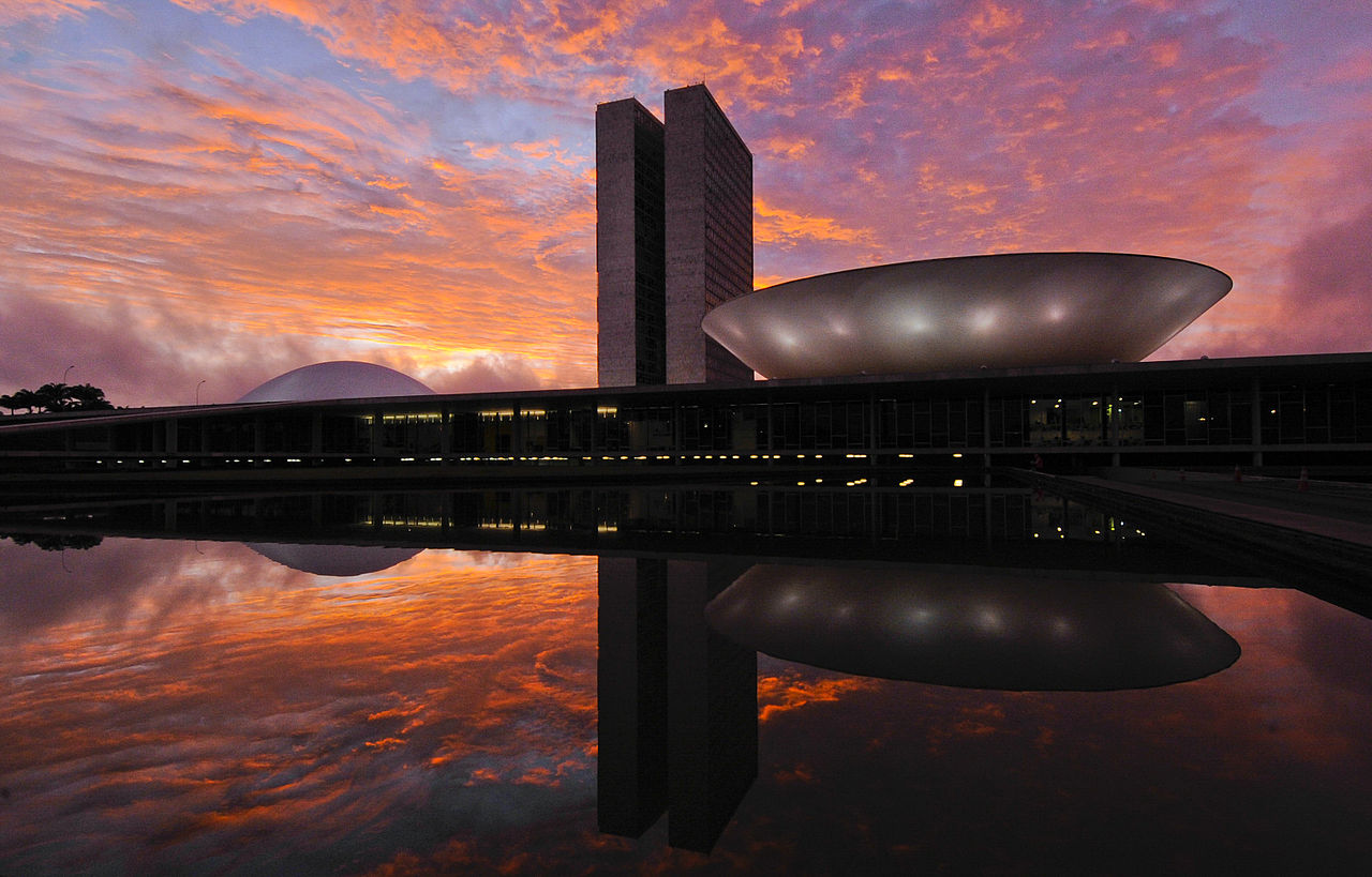 Reflection of Congresso Nacional in the water