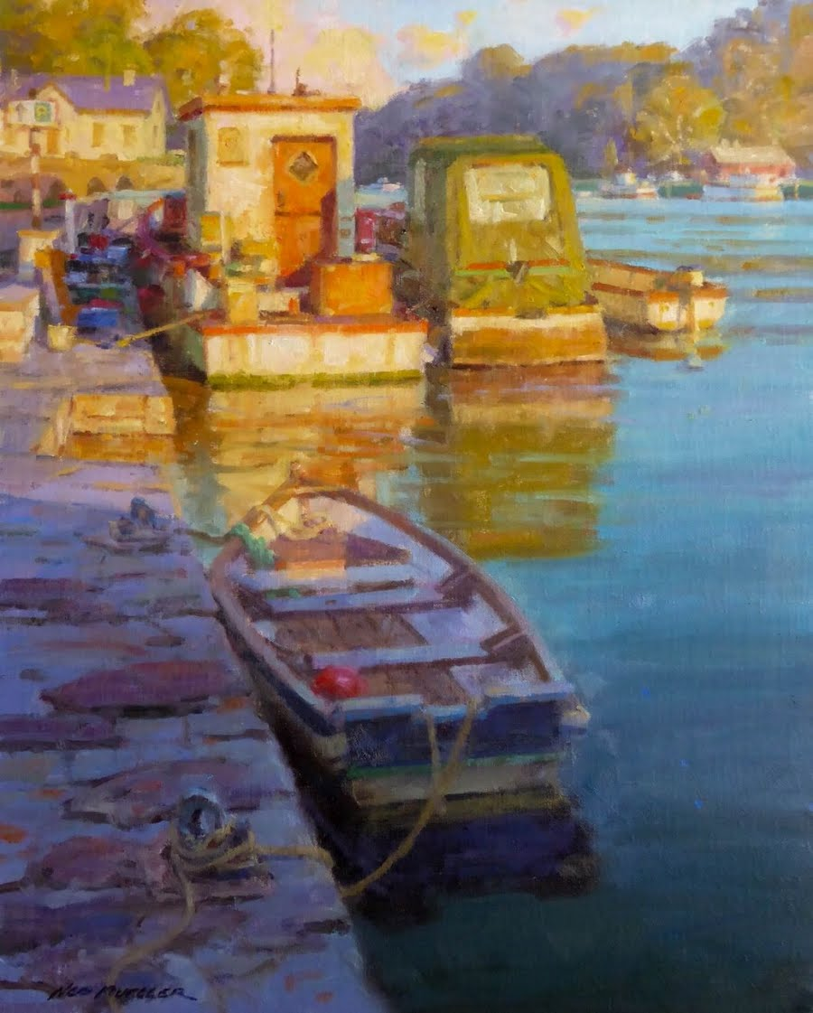 Ned Mueller Painting (Boat, Harbor, Water and Reflections)