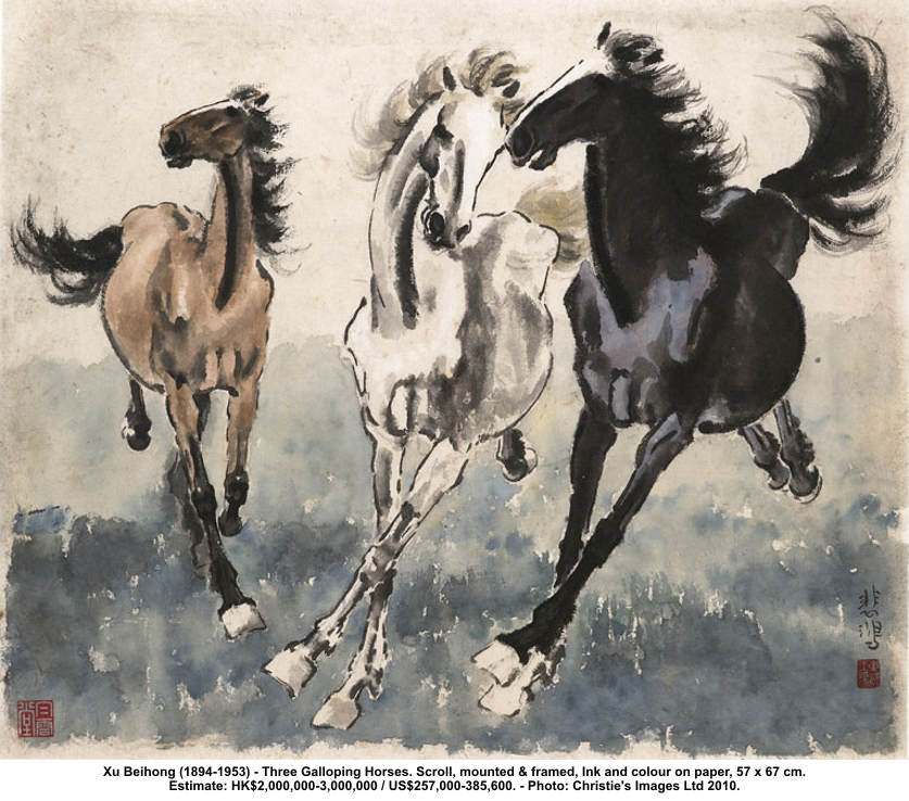 Three galloping horses (Larger image)